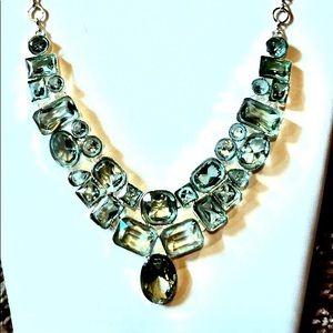 Jewelry - CUSTOM(AUTH) AQUAMARINE BIB NECKLACE, Set in 92.5